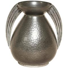 Rene Delavan French Art Deco Pewter Dinanderie Vase