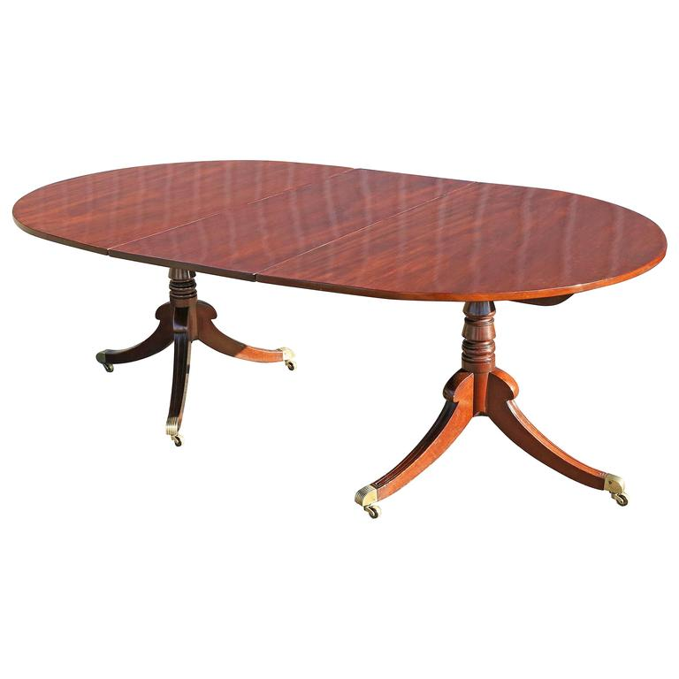 Small regency two pedestal mahogany dining table for sale for Small pedestal dining table