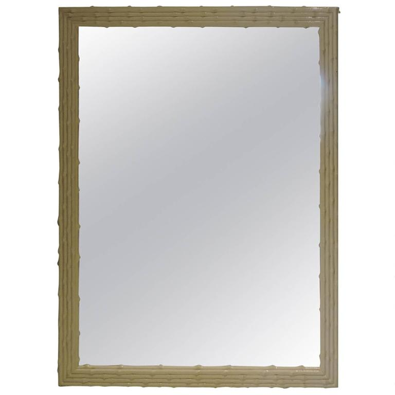 Hollywood Regency Cream White Lacquered Faux Bamboo Wood Mirror