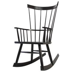 Colt Rocker, Ebonized Stain on Ash, Modern Windsor Rocking Chair