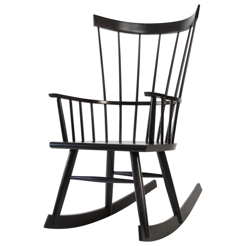 Colt Rocker Ebonized Stain on Ash Modern Windsor Rocking Chair