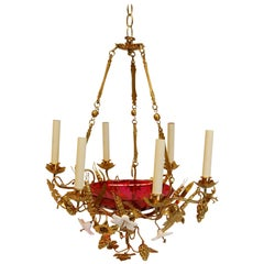 French Chandelier w/ Glass Lilies & Stamped Brass Decorations, Mid 19th Century