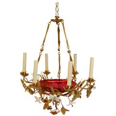 French Chandelier with Glass Lilies and Stamped Brass Decorations