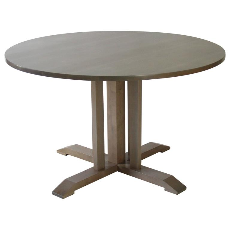 Round Pedestal Dining Table, Salt Pond 'Warm Grey' Stain, Solid Maple