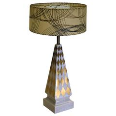 Rare and Large Porcelain 1940s French Table Lamp Hand-Painted in Gold