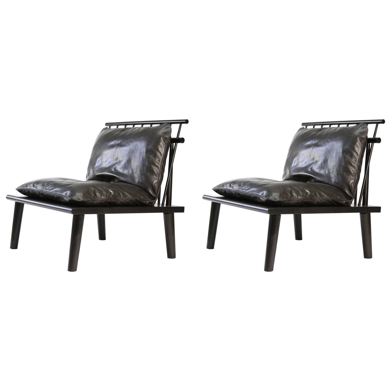 Pair of Matunuck Lounge Chairs Charcoal Leather Down Feather 20