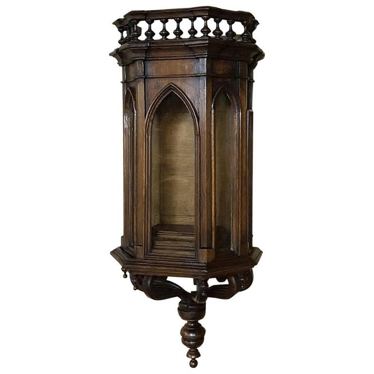 19th Century French Gothic Walnut Wall Vitrine Curio Cabinet With Sconce Support For
