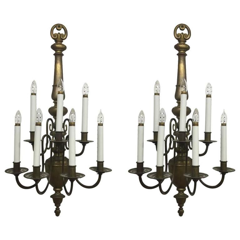 Pair Of Williamsburg Style Brass Electrified Sconces For