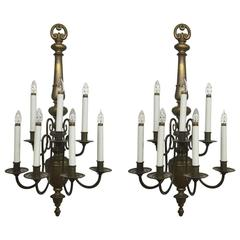Pair of Williamsburg Style Brass Electrified Sconces