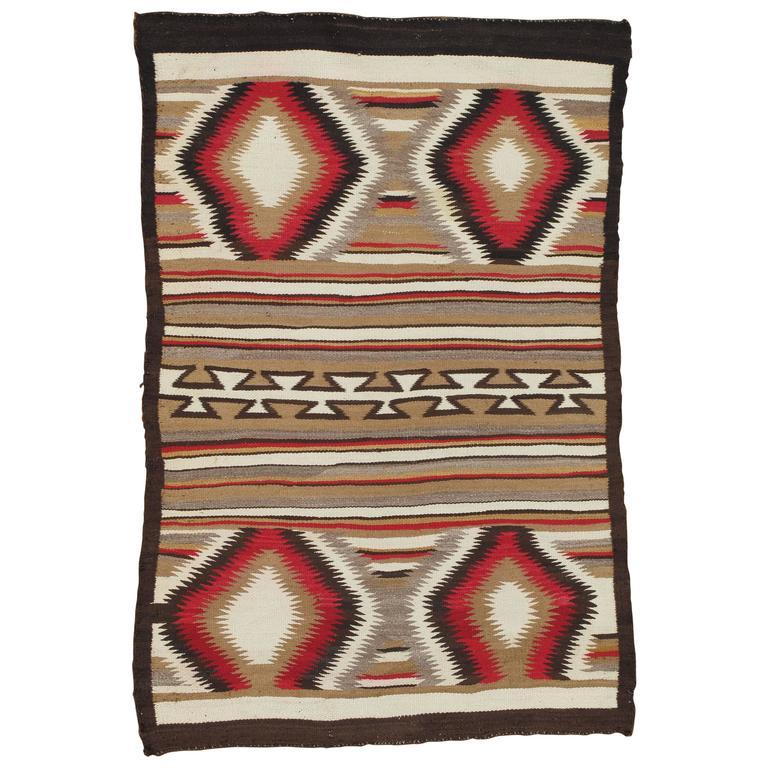 Antique Navajo Rug, Folk Rug, Red Rug, Oriental Rug, Patterned Rug For Sale