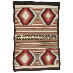 Antique Navajo Rug Folk Red Oriental Patterned