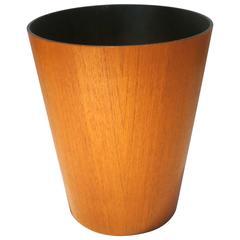 Danish Modern Teak Wastebasket in the Style of Martin Aberg with Black Liner