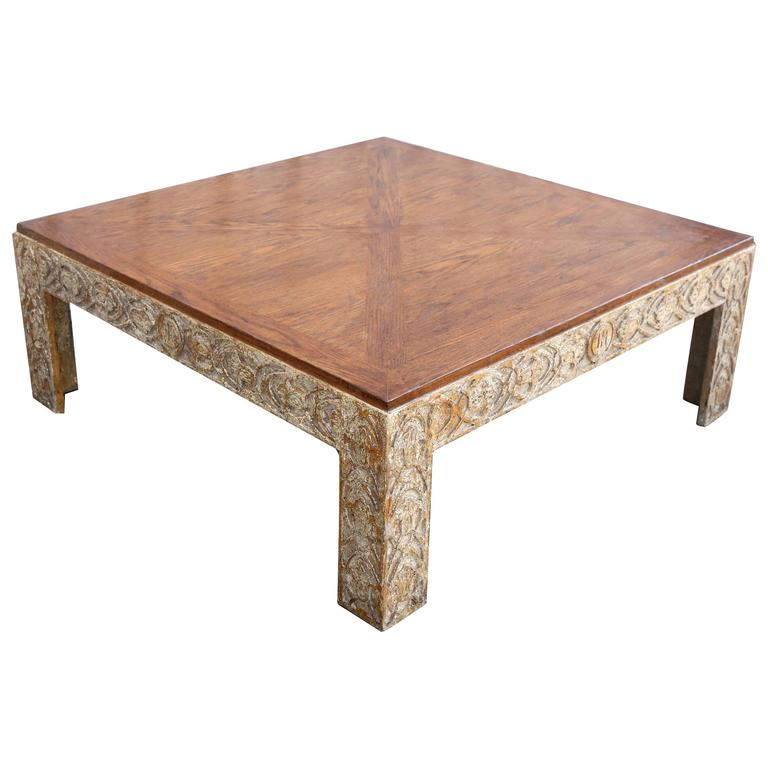 Parquetry Top Painted Square Coffee Table