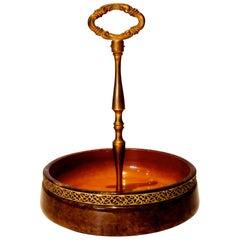 Hollywood Regency Nut Bowl by Aldo Tura in Tobacco Goatskin and Brass