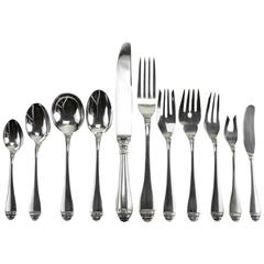 11-Piece Sterling Silver Flatware Service for 12 in French Empire by Buccellati