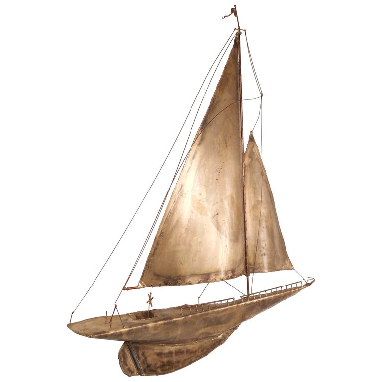 Mid-Century Modern C. Jere Style Sailboat Wall Art For Sale