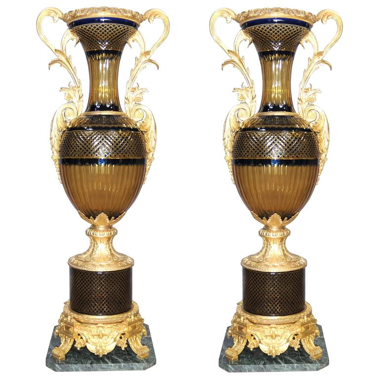 Pair of extra large french empire crystal cut glass urns vases ormolu at 1stdibs - Large decorative vases and urns ...