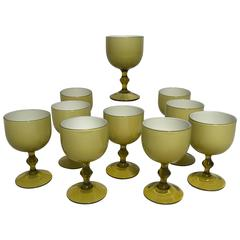 Ten Carlo Moretti Italian Cased Glass Wine Goblets, Amber and White
