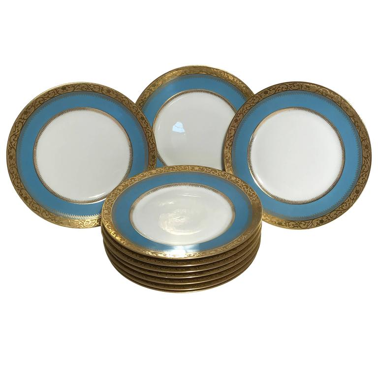 Ten Antique Limoges Turquoise Aqua Dinner Plates Nice Gold Textured Band For Sale  sc 1 st  1stDibs : nice plates dinnerware - pezcame.com