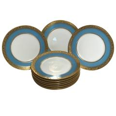 Ten Antique Limoges Turquoise Aqua Dinner Plates, Nice Gold Textured Band
