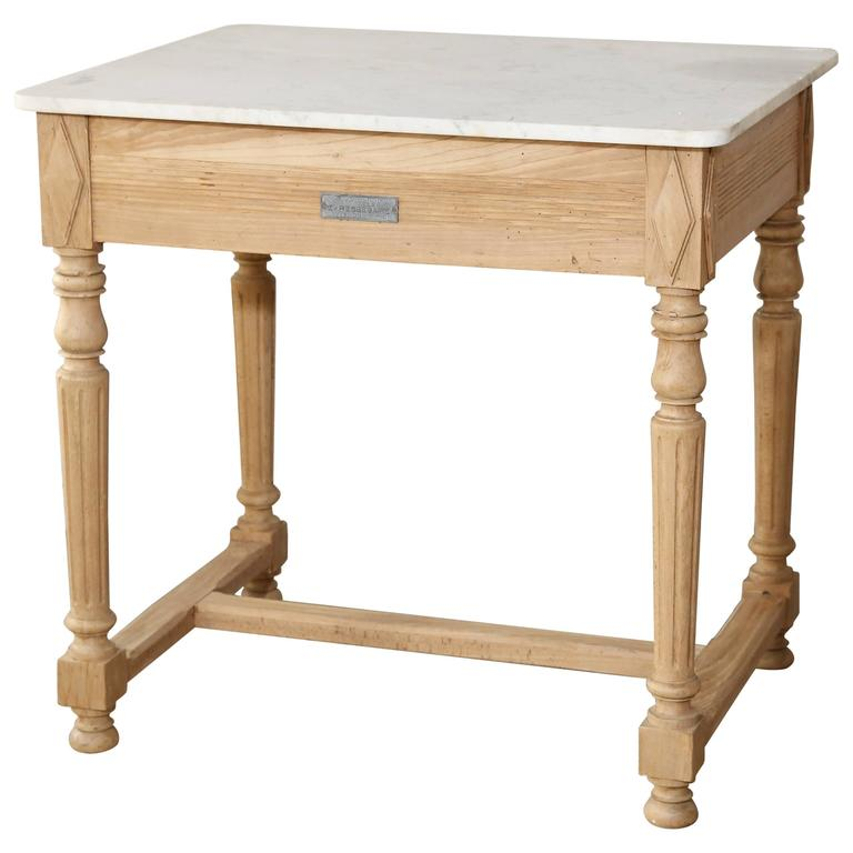 Butcher Table With Marble Work Surface At 1stdibs