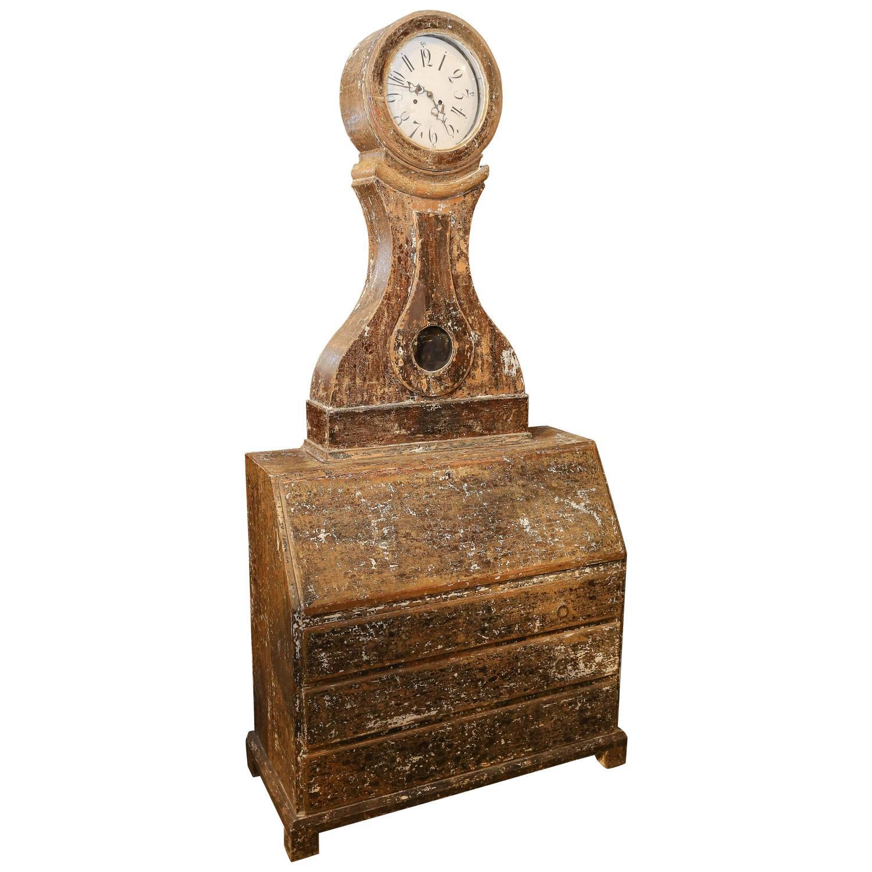 Swedish Mora Clock Secretary Desk For Sale At 1stdibs