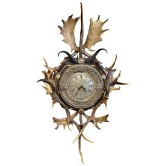 Monumental Antique Black Forest Carved Wall Clock