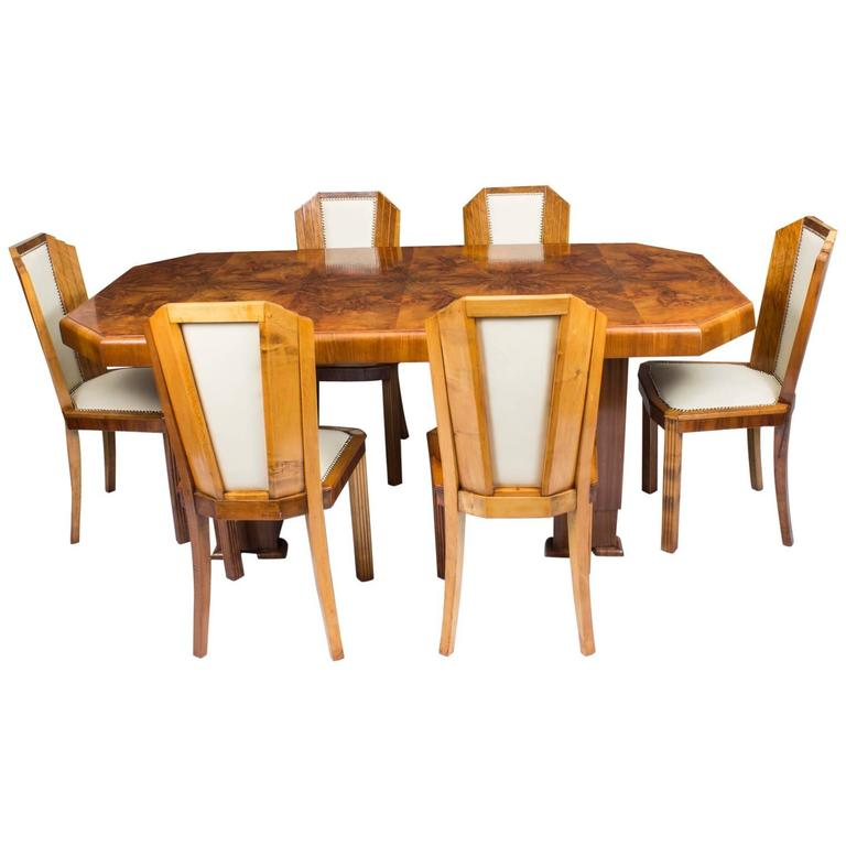 Antique Art Deco Burr Walnut Dining Table Six Chairs