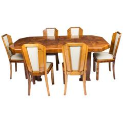 Antique Art Deco Burr Walnut Dining Table Six Chairs, circa 1930