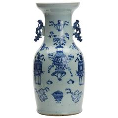 Large Antique Chinese Celadon Blue and White Vase, 19th Century