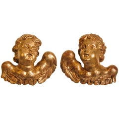 Venetian Cherubs or Angels Antique and important,  in Gilded Wood