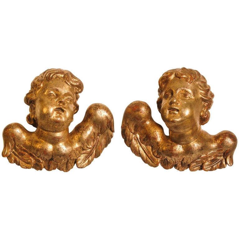 Venetian Cherubs or Angels Antique and Important,  in Gilded Wood  For Sale