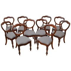 Set of Ten Victorian Mahogany Dining Chairs