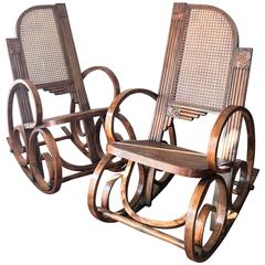 20th Century Stunning Art Deco Bentwood and Reed Seats Rocking Chairs