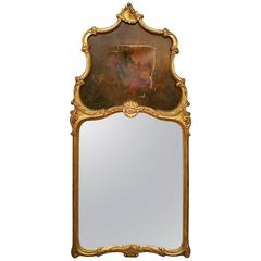 19th Century Louis XV Carved Giltwood Trumeau Mirror