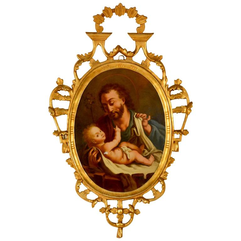 Spanish Religious Reverse Painting Saint Joseph with the Christ Child