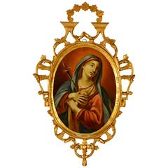 Late 19th Century Spanish Religious Reverse Painting Our Lady of Sorrows