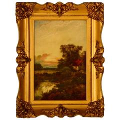 Antique E. Cole Oil on Canvas Sunset Cottage Landscape