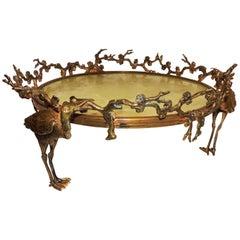Wonderful French Gilt Bronze Onyx Stork Centerpiece Plataeu Chinoiserie Bowl
