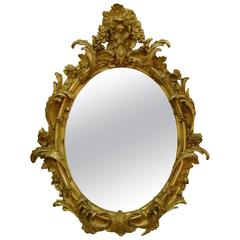 Carved Giltwood and Gesso Oval Mirror
