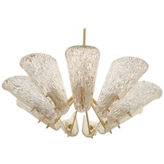 Beautiful Large Chandelier with Textured Glass by Kalmar