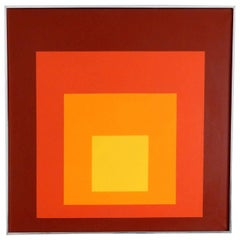 1975 Graphic Square Oil Painting in the Manner of Josef Albers