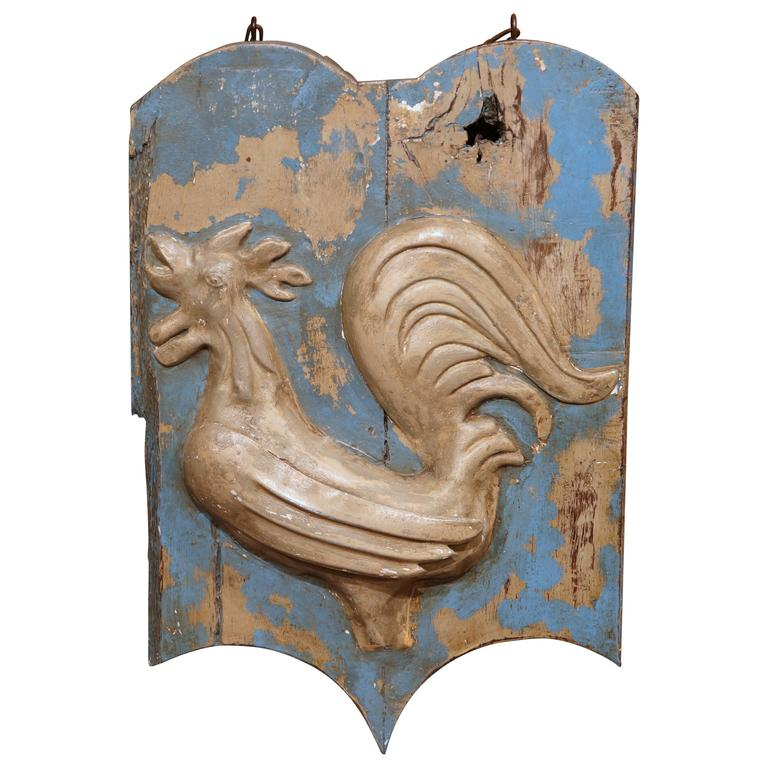 18th Century French Painted and Tole Sign with Rooster