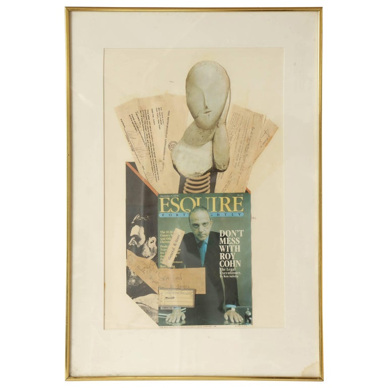Collage Brancusi Lawsuit by Ellery Kurtz Presented to Roy Cohn by Andrew Crispo For Sale