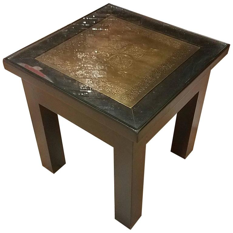 Copper Top Moroccan Side Table Glass Protection For Sale At 1stdibs