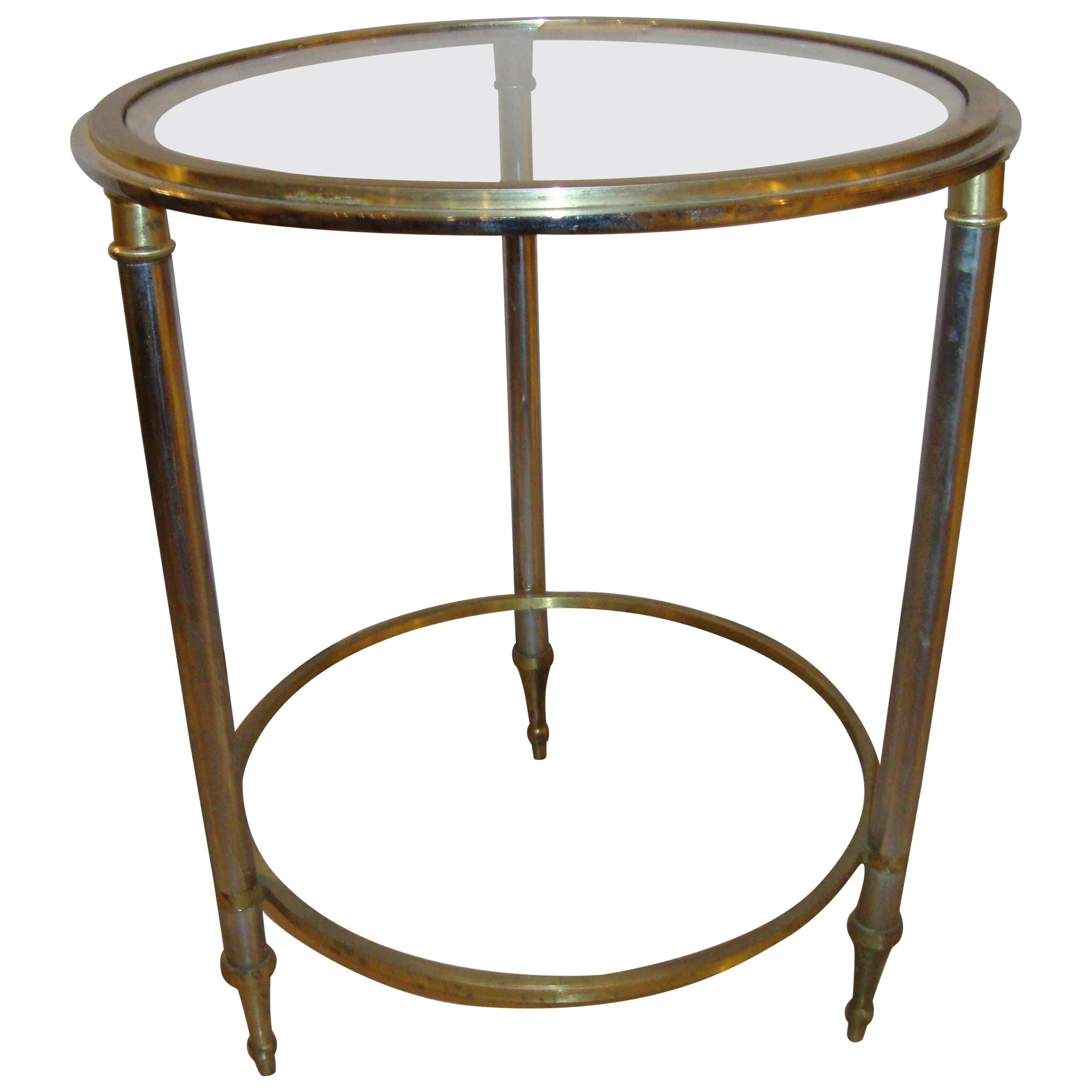 Hollywood Regency Style Bronze Bamboo Bouilliotte Glass Top End Or Side Table
