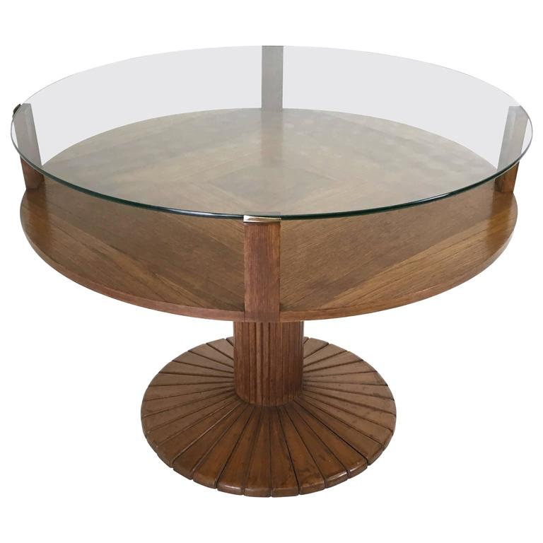 Oak And Tempered Glass Coffee Table Ascribable To Osvaldo Borsani 1940s At 1stdibs