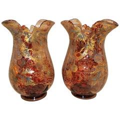Wonderful Pair Moser Vases Fine Quality Art Glass Art Nouveau Deco Gilt Enamel