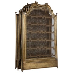 Five-Panel Folding Brass Fire Screen with Beaded Details for Fireplace