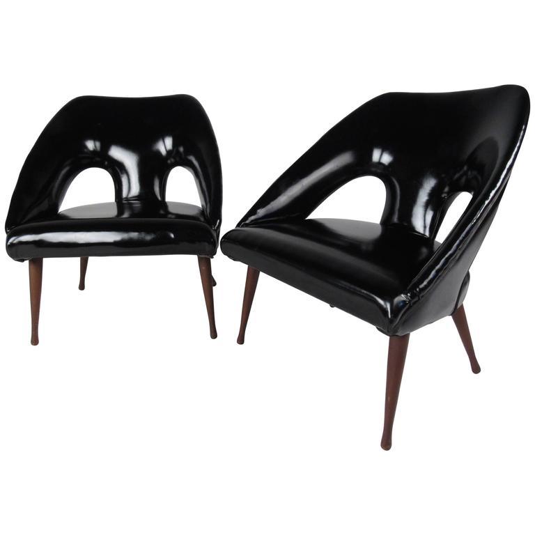 Pair of Vintage Vinyl Lounge Chairs